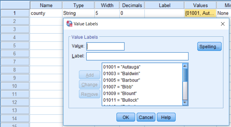 Value labels in SPSS data editor